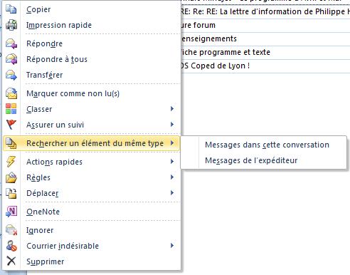 Copie d'écran du menu obtenue par clic droit sur mail